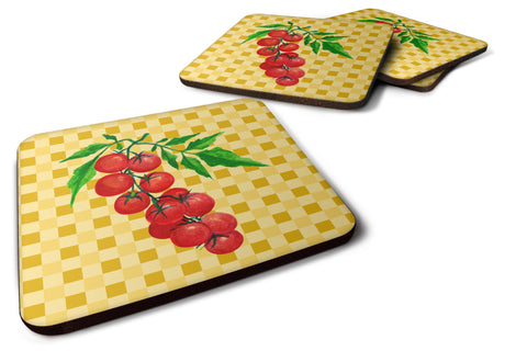 Buy this Cherry Tomato on Basketweave Foam Coaster Set of 4 BB7194FC