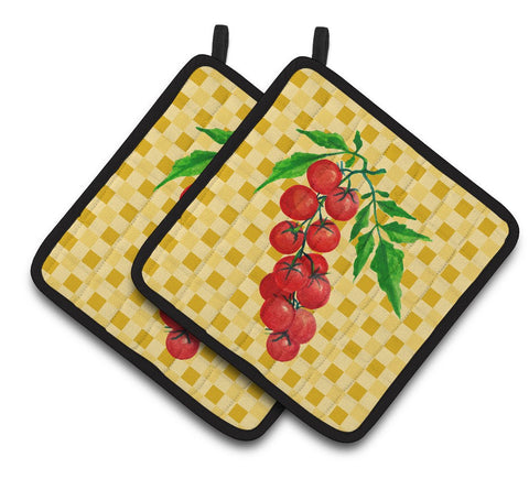 Buy this Cherry Tomato on Basketweave Pair of Pot Holders BB7194PTHD