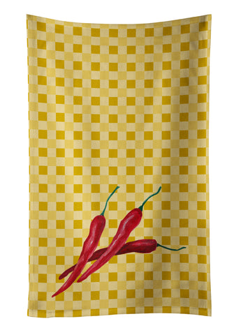 Buy this Chili Peppers on Basketweave Kitchen Towel BB7195KTWL