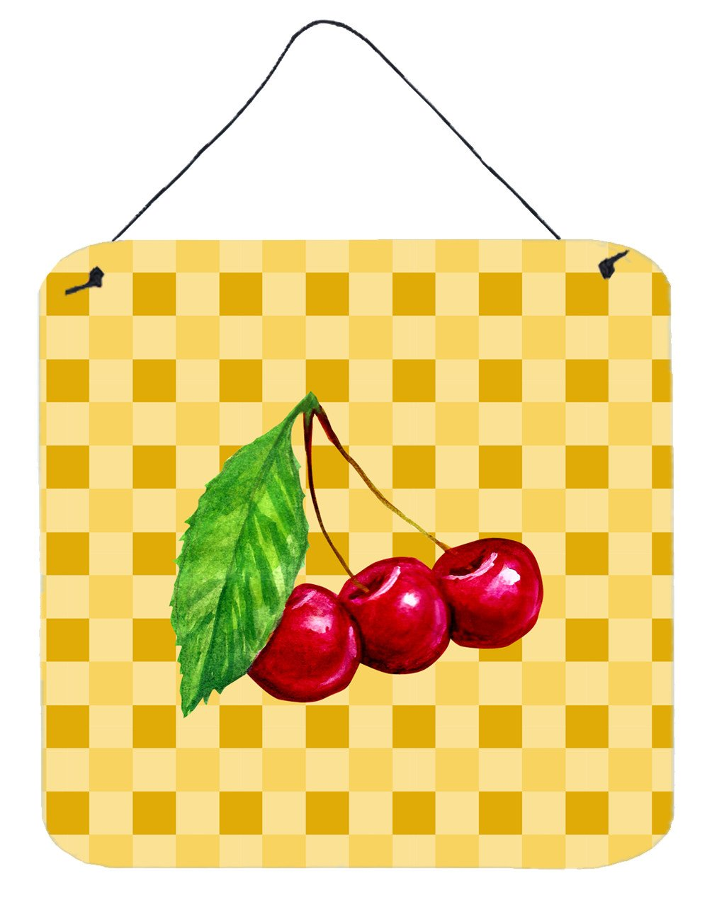 Cherries on Basketweave Wall or Door Hanging Prints BB7224DS66 by Caroline's Treasures