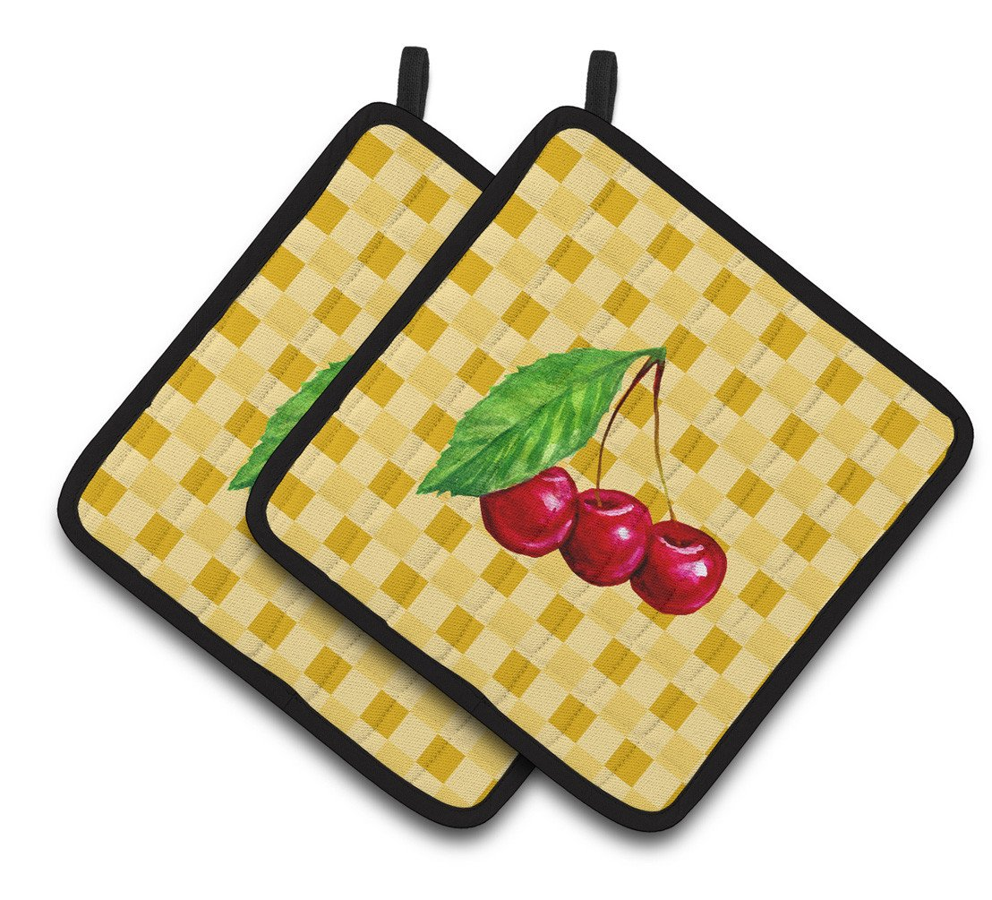 Cherries on Basketweave Pair of Pot Holders BB7224PTHD by Caroline's Treasures
