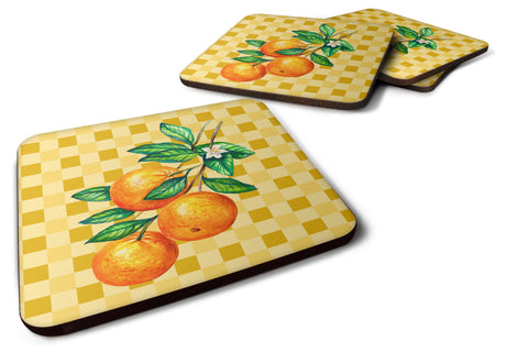 Buy this Oranges on Branch on Basketweave Foam Coaster Set of 4 BB7238FC