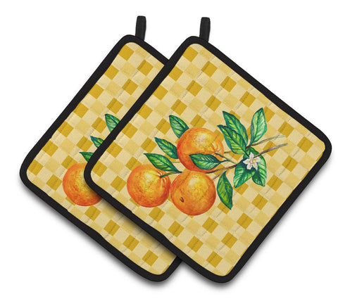 Buy this Oranges on Branch on Basketweave Pair of Pot Holders BB7238PTHD