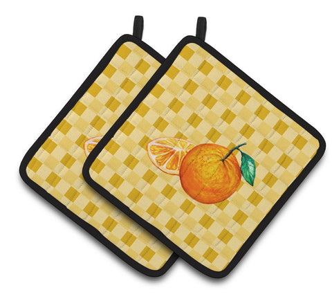 Buy this Oranges and Slice on Basketweave Pair of Pot Holders BB7239PTHD