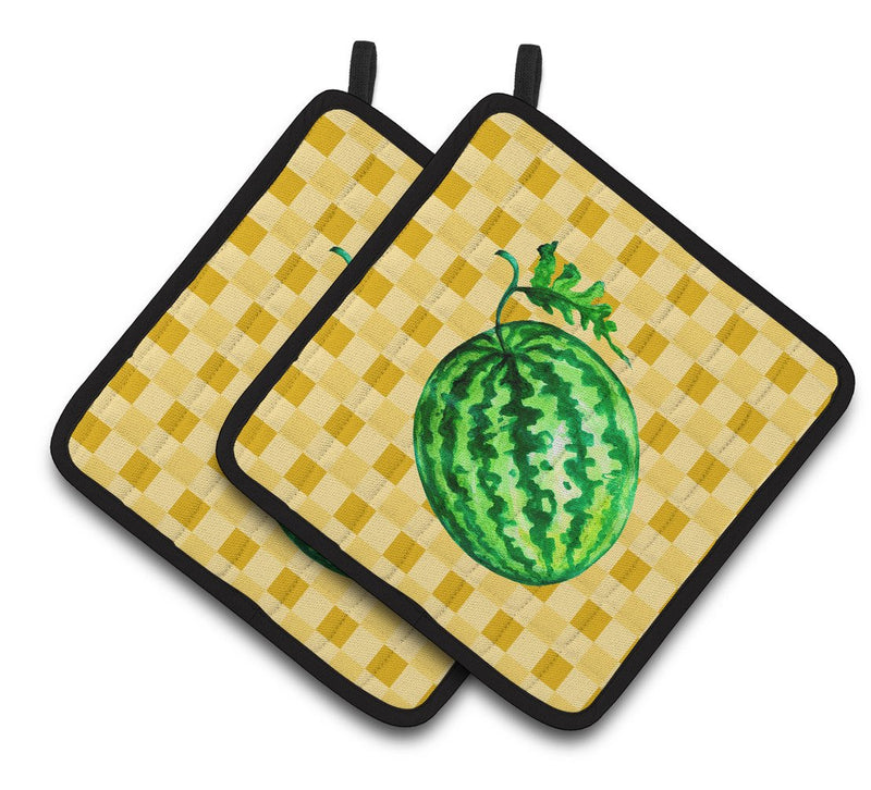 Buy this Whole Watermelon on Basketweave Pair of Pot Holders BB7252PTHD