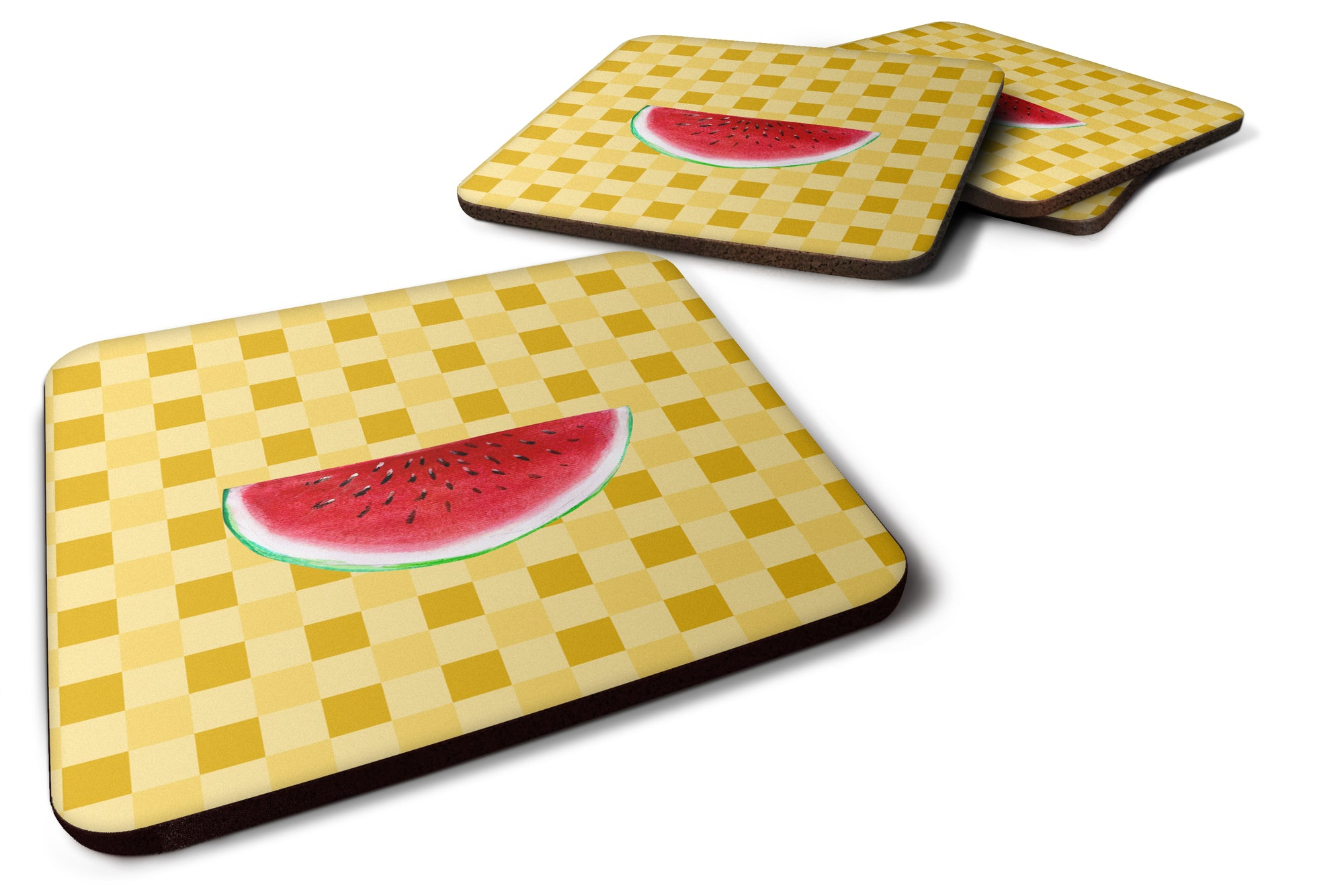 Buy this Sliced Watermelon on Basketweave Foam Coaster Set of 4 BB7253FC