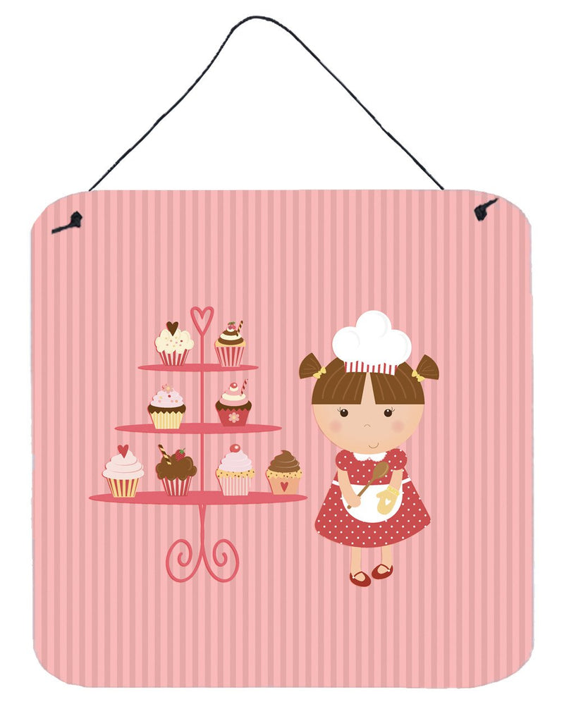 Buy this Cupcake Baker Brunette Pink Wall or Door Hanging Prints BB7254DS66