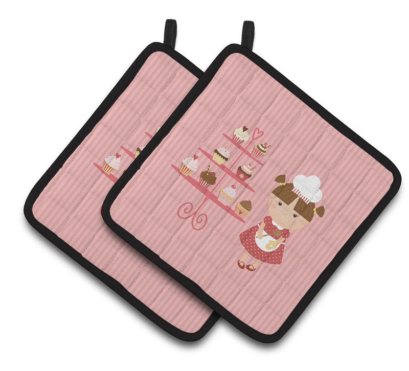 Buy this Cupcake Baker Brunette Pink Pair of Pot Holders BB7254PTHD