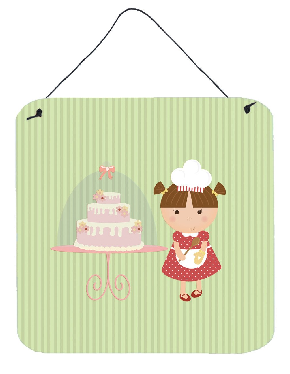 Cake Baker Brunette Green Wall or Door Hanging Prints BB7256DS66 by Caroline's Treasures