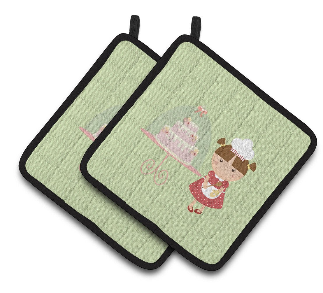Cake Baker Brunette Green Pair of Pot Holders BB7256PTHD by Caroline's Treasures