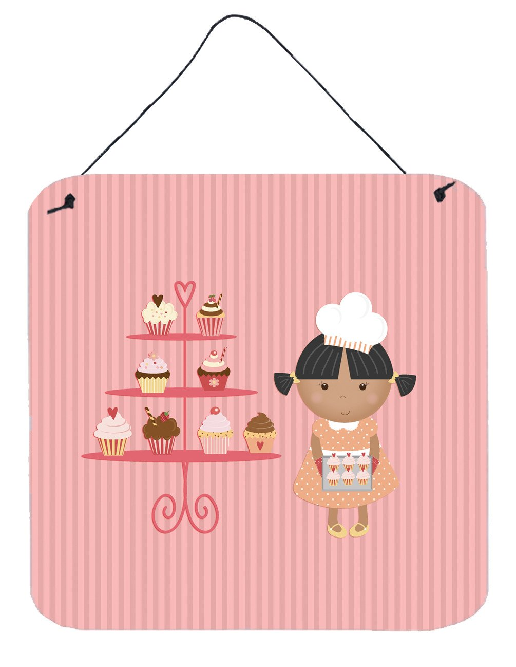 Buy this Cupcake Baker African American Pink Wall or Door Hanging Prints BB7257DS66