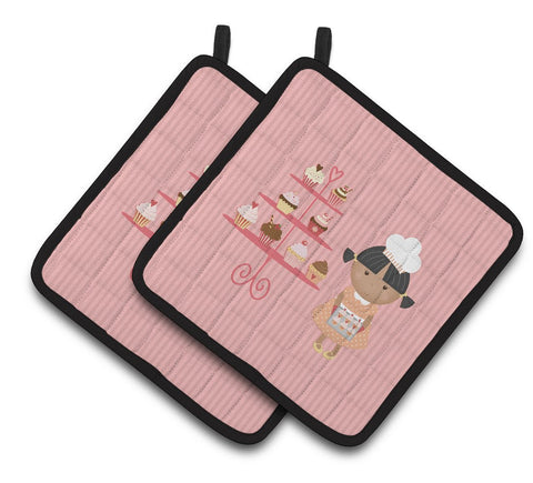 Buy this Cupcake Baker African American Pink Pair of Pot Holders BB7257PTHD