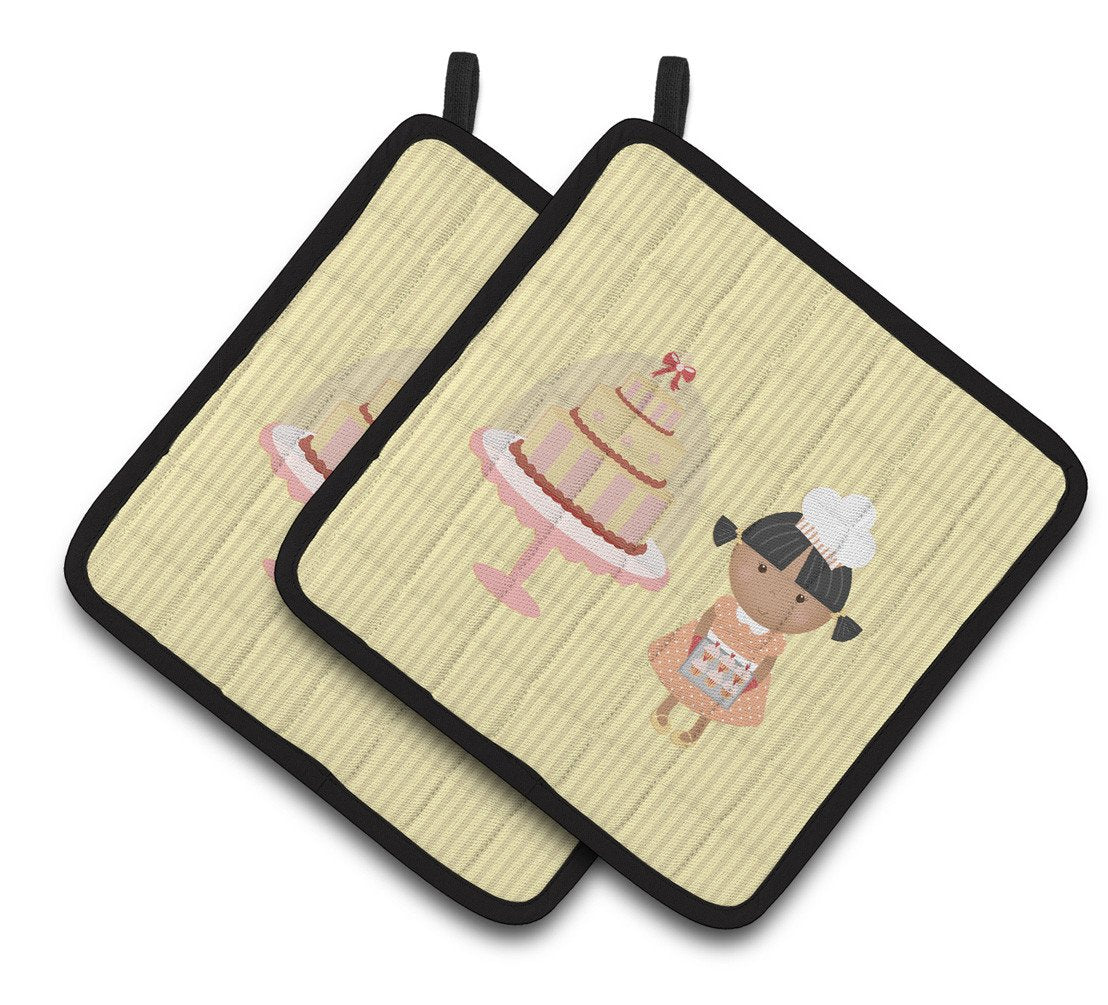 Cake Baker African American Yellow Pair of Pot Holders BB7258PTHD by Caroline's Treasures