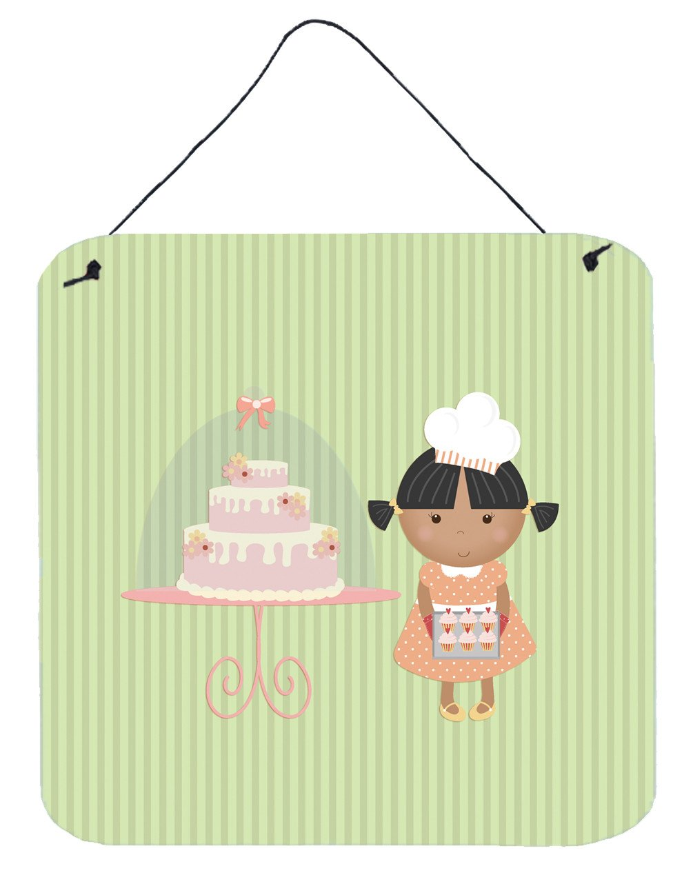 Cake Baker African American Green Wall or Door Hanging Prints BB7259DS66 by Caroline's Treasures