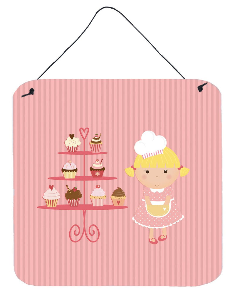 Buy this Cupcake Baker Blonde Pink Wall or Door Hanging Prints BB7260DS66