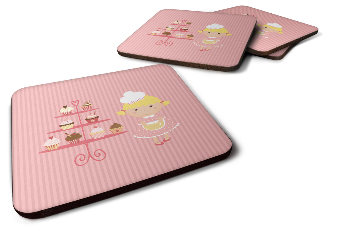 Buy this Cupcake Baker Blonde Pink Foam Coaster Set of 4 BB7260FC