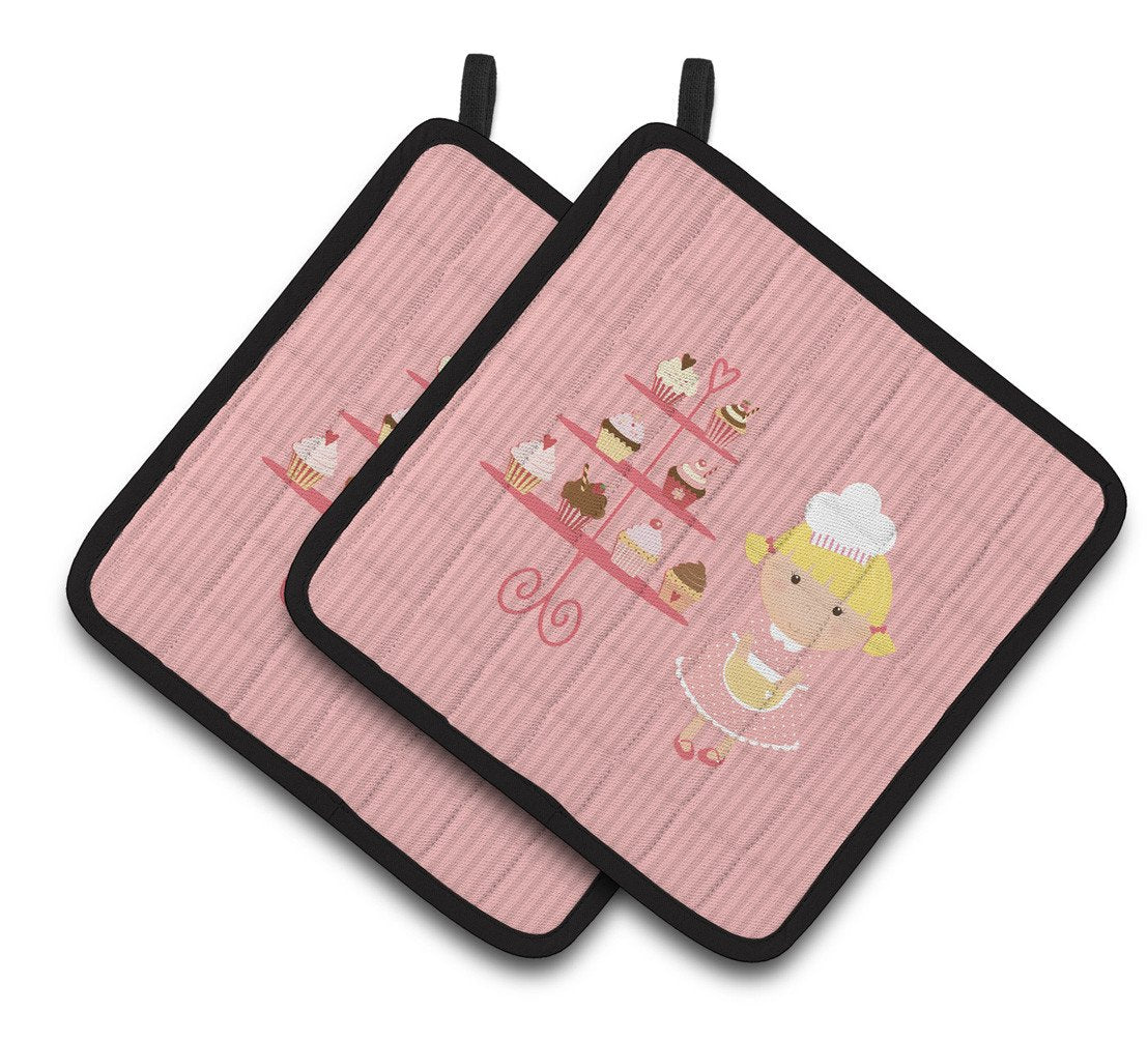 Buy this Cupcake Baker Blonde Pink Pair of Pot Holders BB7260PTHD