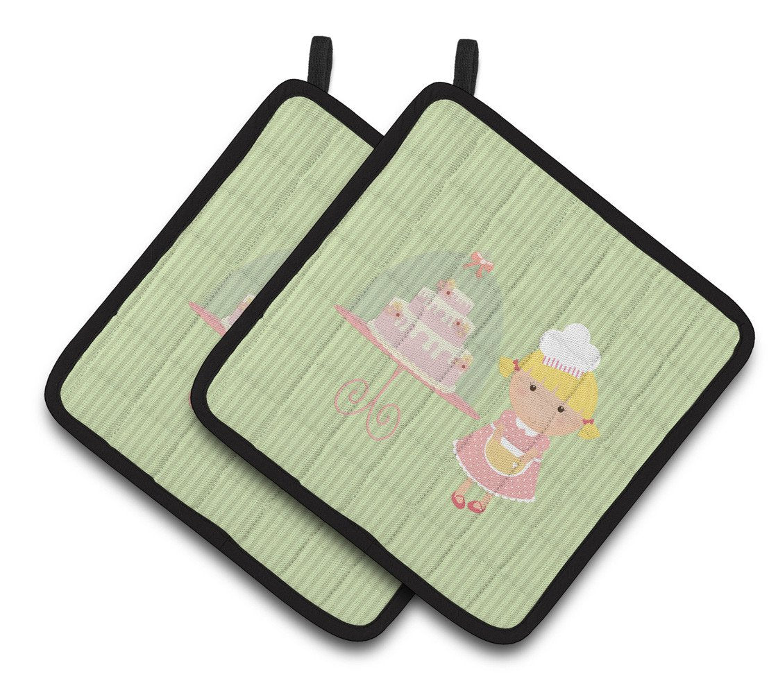 Cake Baker Blonde Green Pair of Pot Holders BB7262PTHD by Caroline's Treasures