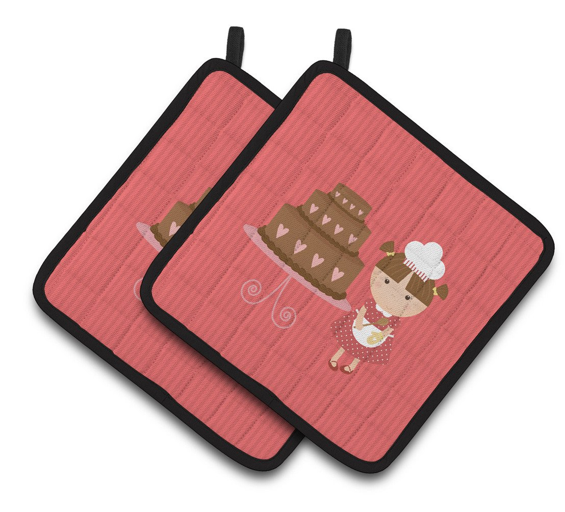 Buy this Valentine's Cake Baker Brunette Pair of Pot Holders BB7263PTHD