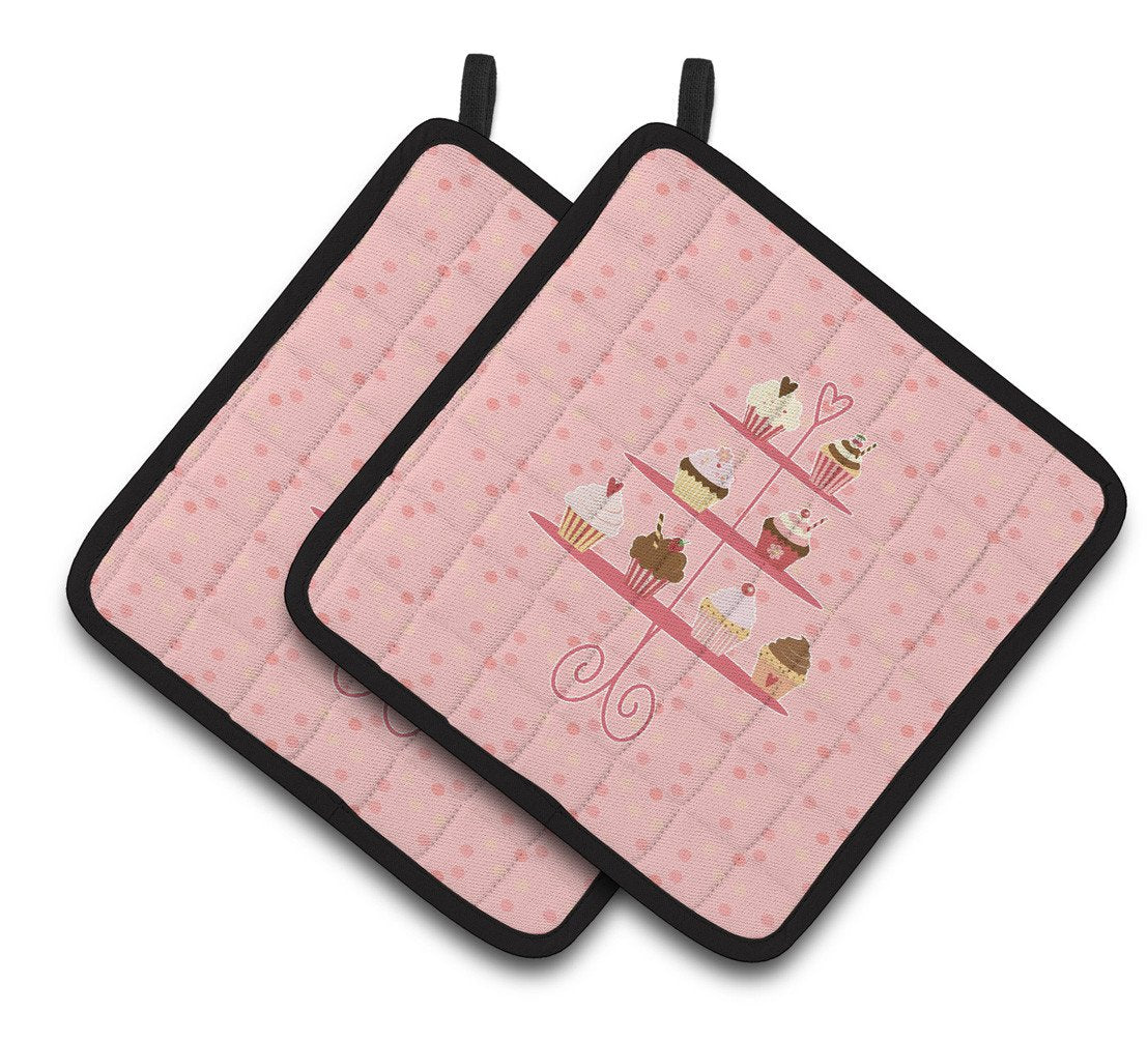 Buy this Cupcakes 3 Tier Pink Pair of Pot Holders BB7274PTHD