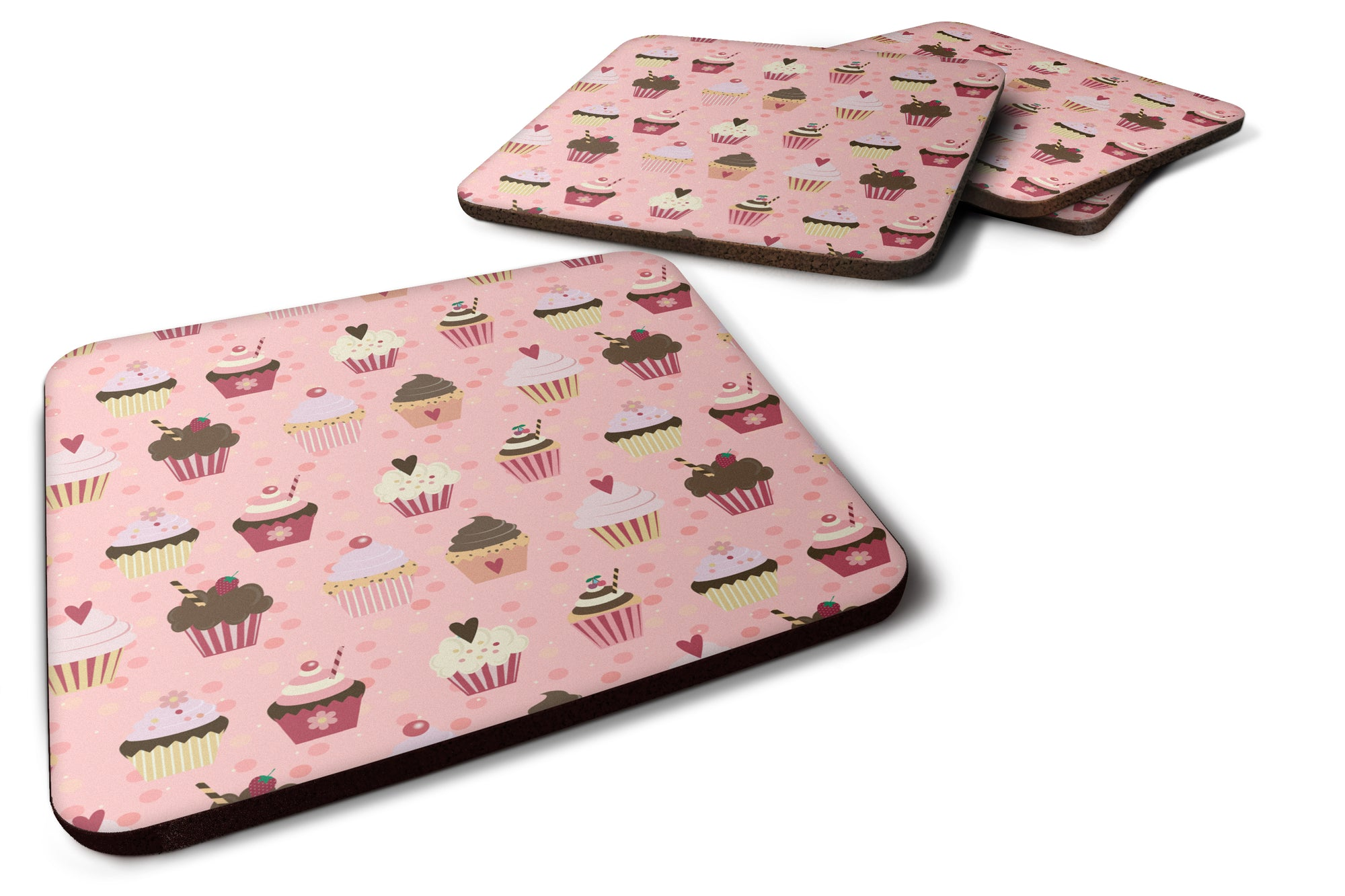 Buy this Cupcakes on Pink Foam Coaster Set of 4 BB7280FC