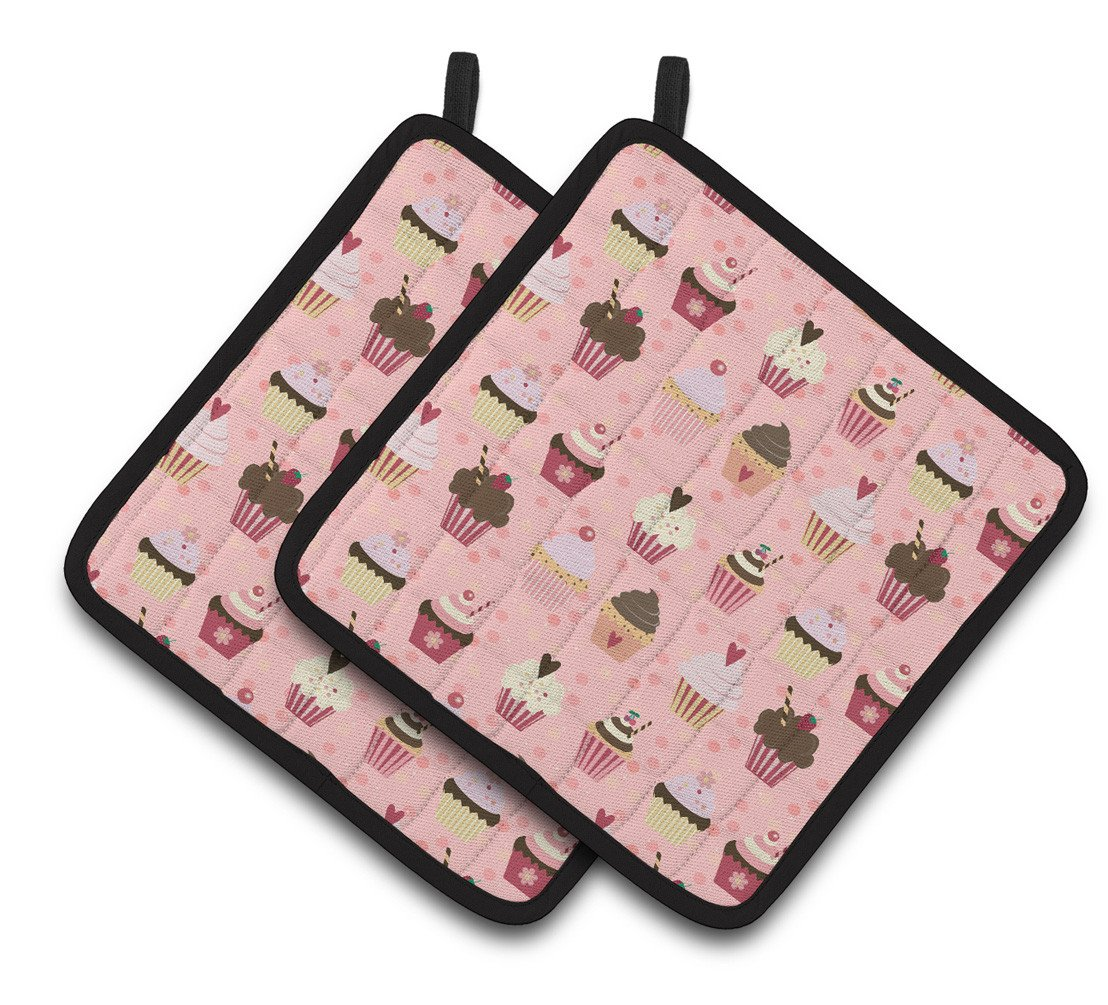 Buy this Cupcakes on Pink Pair of Pot Holders BB7280PTHD