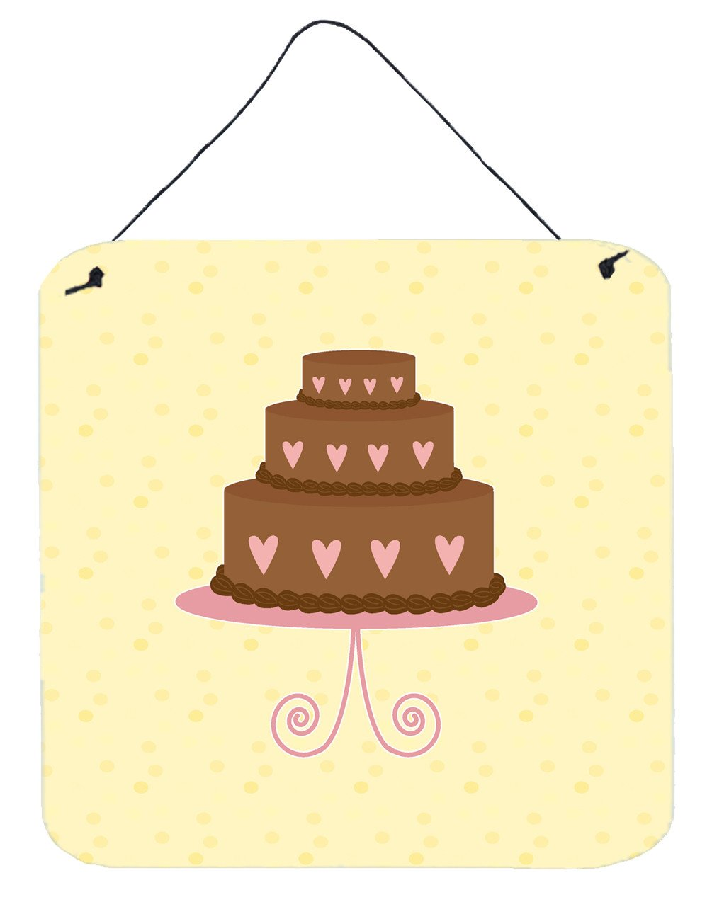 3 Tier Heart Chocolate Cake on Yellow Wall or Door Hanging Prints BB7288DS66 by Caroline's Treasures