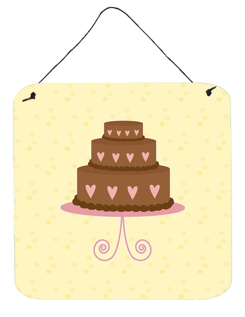 Buy this 3 Tier Heart Chocolate Cake on Yellow Wall or Door Hanging Prints BB7288DS66