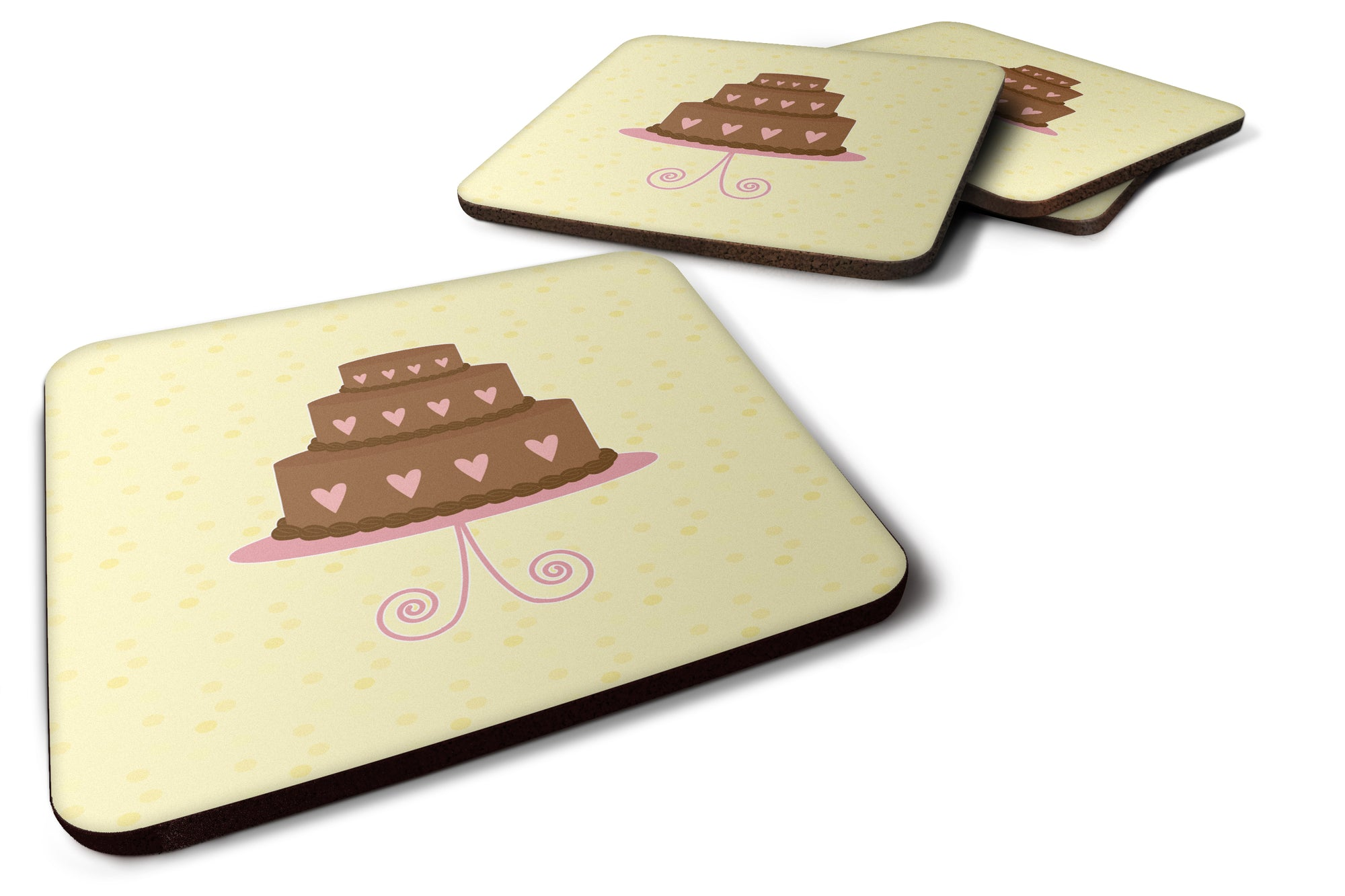 3 Tier Heart Chocolate Cake on Yellow Foam Coaster Set of 4 BB7288FC by Caroline's Treasures