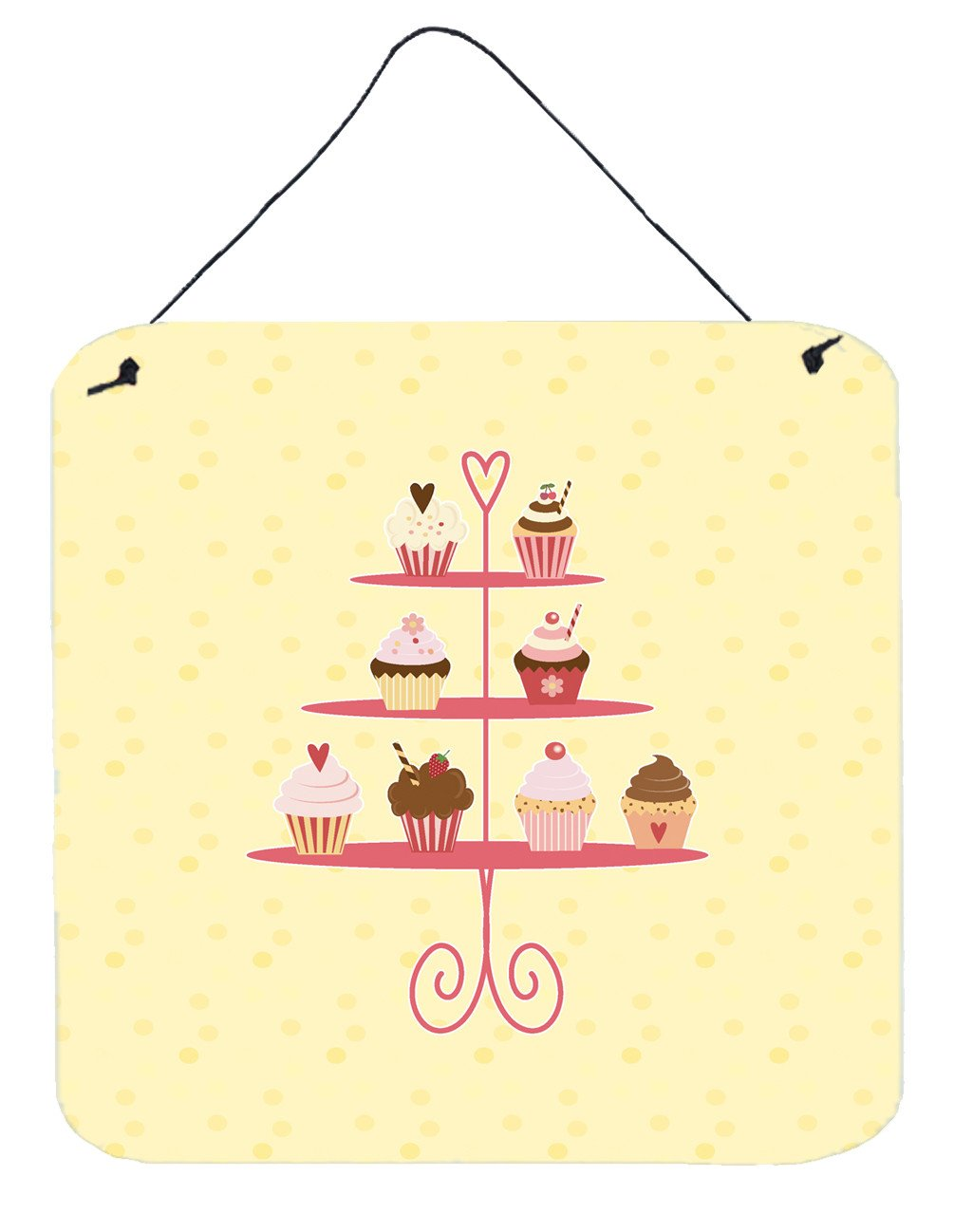 3 Tier Cupcakes on Yellow Wall or Door Hanging Prints BB7289DS66 by Caroline's Treasures