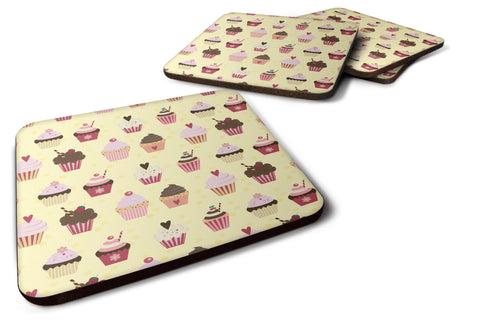 Buy this Cupcakes on Yellow Foam Coaster Set of 4 BB7295FC