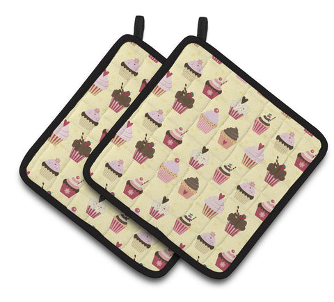 Buy this Cupcakes on Yellow Pair of Pot Holders BB7295PTHD