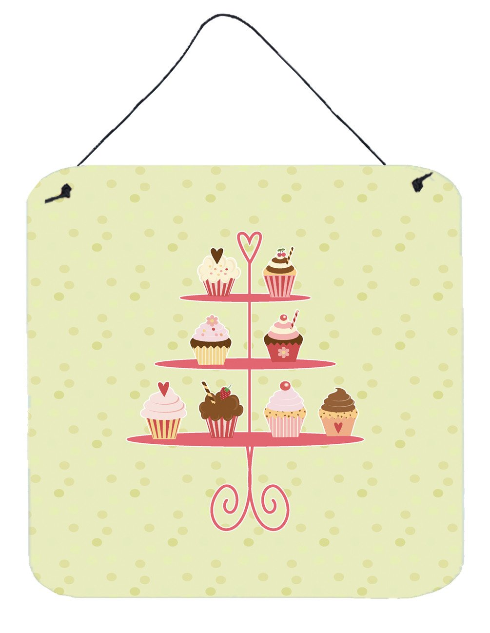 Cupcakes 3 Tier Stand on Green Wall or Door Hanging Prints BB7304DS66 by Caroline's Treasures
