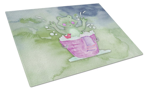 Buy this Frog Bathing Watercolor Glass Cutting Board Large BB7343LCB