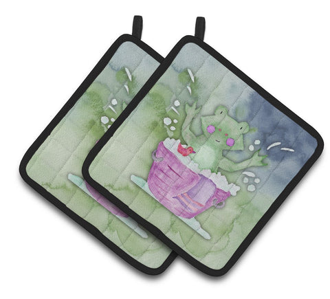 Buy this Frog Bathing Watercolor Pair of Pot Holders BB7343PTHD