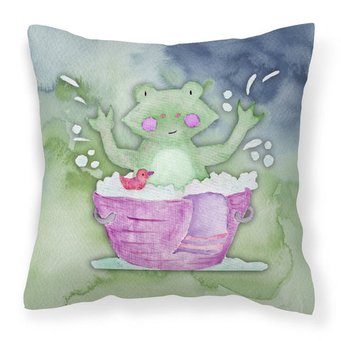 Buy this Frog Bathing Watercolor Fabric Decorative Pillow BB7343PW1818