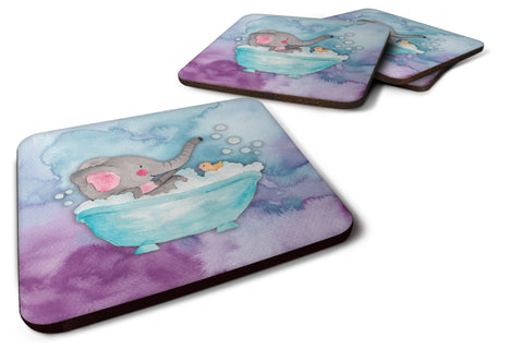 Buy this Elephant Bathing Watercolor Foam Coaster Set of 4 BB7346FC