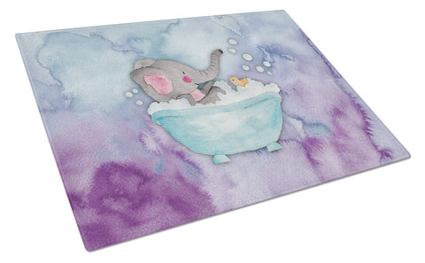 Buy this Elephant Bathing Watercolor Glass Cutting Board Large BB7346LCB