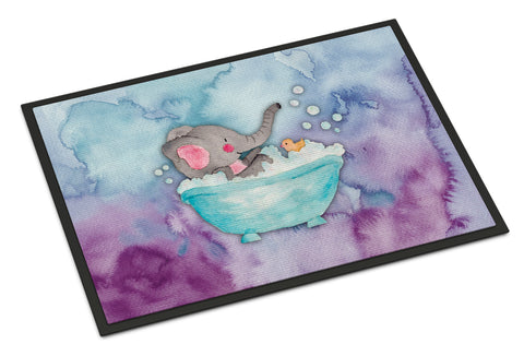 Buy this Elephant Bathing Watercolor Indoor or Outdoor Mat 18x27 BB7346MAT