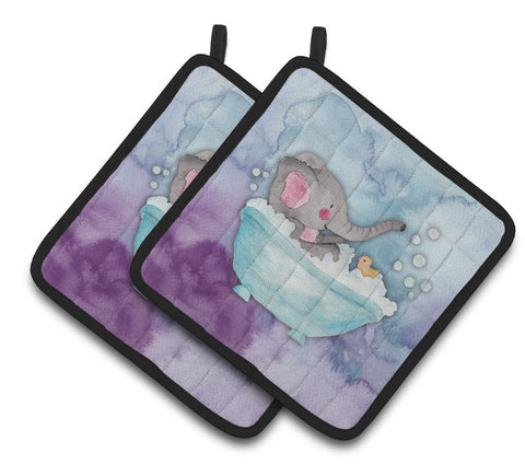 Buy this Elephant Bathing Watercolor Pair of Pot Holders BB7346PTHD