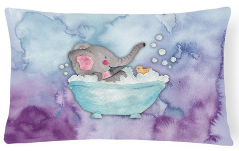 Buy this Elephant Bathing Watercolor Canvas Fabric Decorative Pillow BB7346PW1216