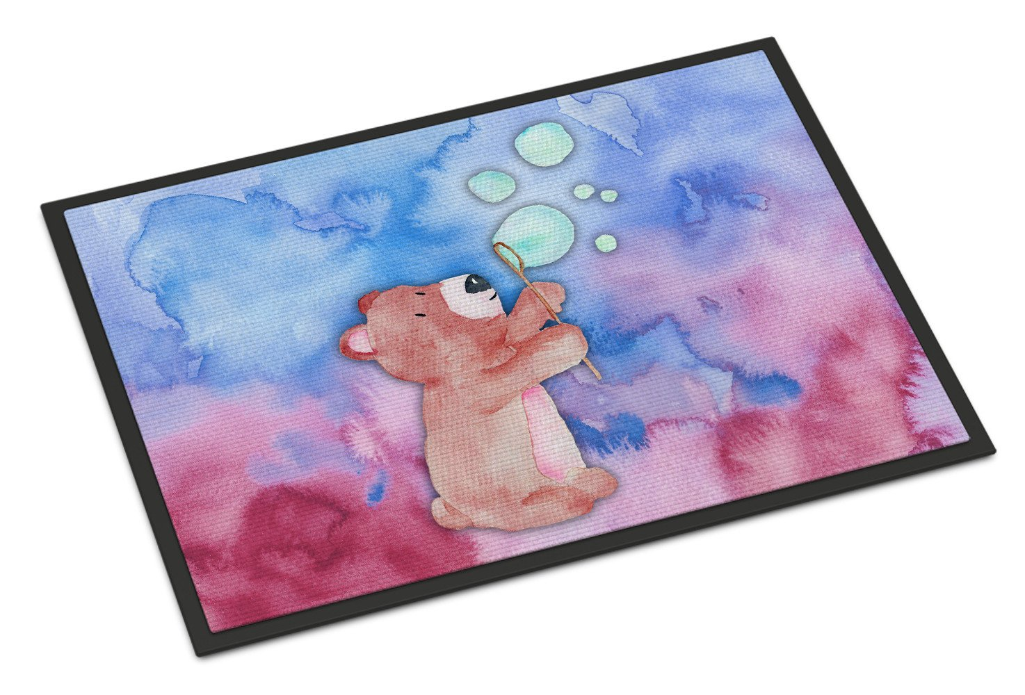 Bear and Bubbles Watercolor Indoor or Outdoor Mat 24x36 BB7347JMAT by Caroline's Treasures
