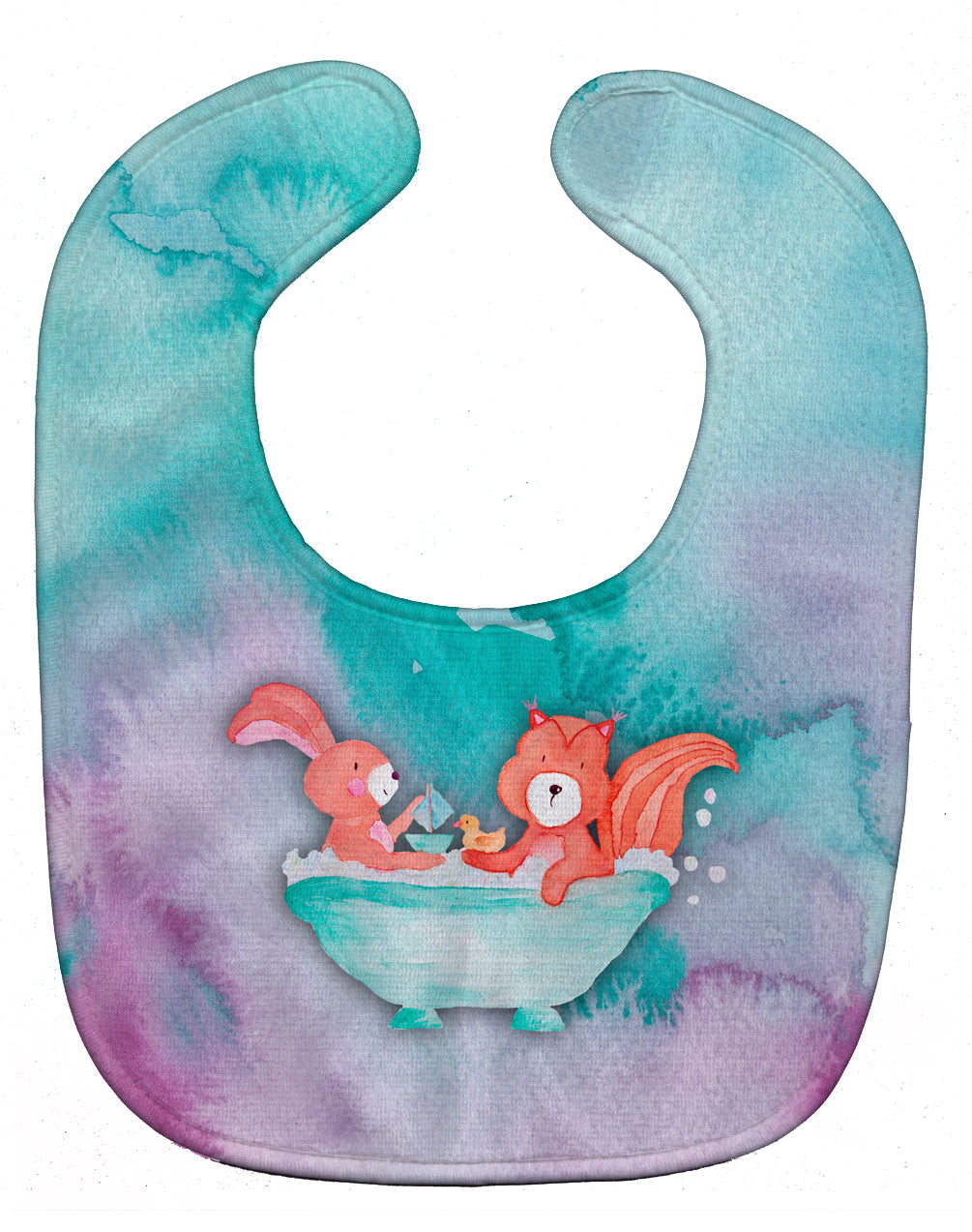 Buy this Rabbit and Squirrel Bathing Watercolor Baby Bib BB7348BIB