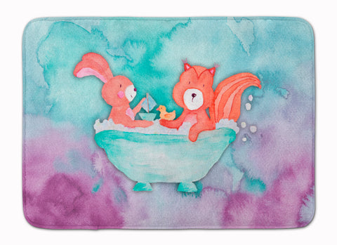 Buy this Rabbit and Squirrel Bathing Watercolor Machine Washable Memory Foam Mat BB7348RUG