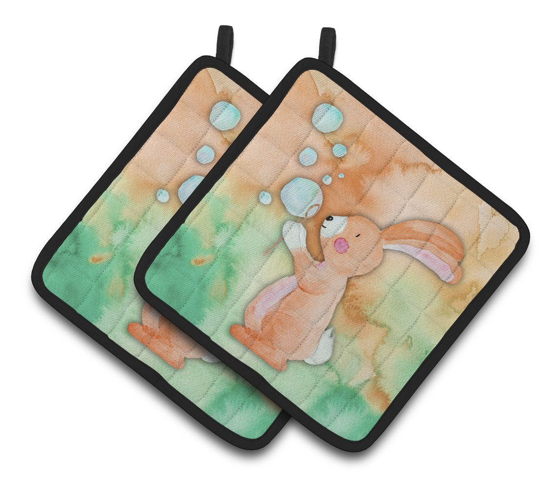 Rabbit and Bubbles Watercolor Pair of Pot Holders BB7349PTHD by Caroline's Treasures