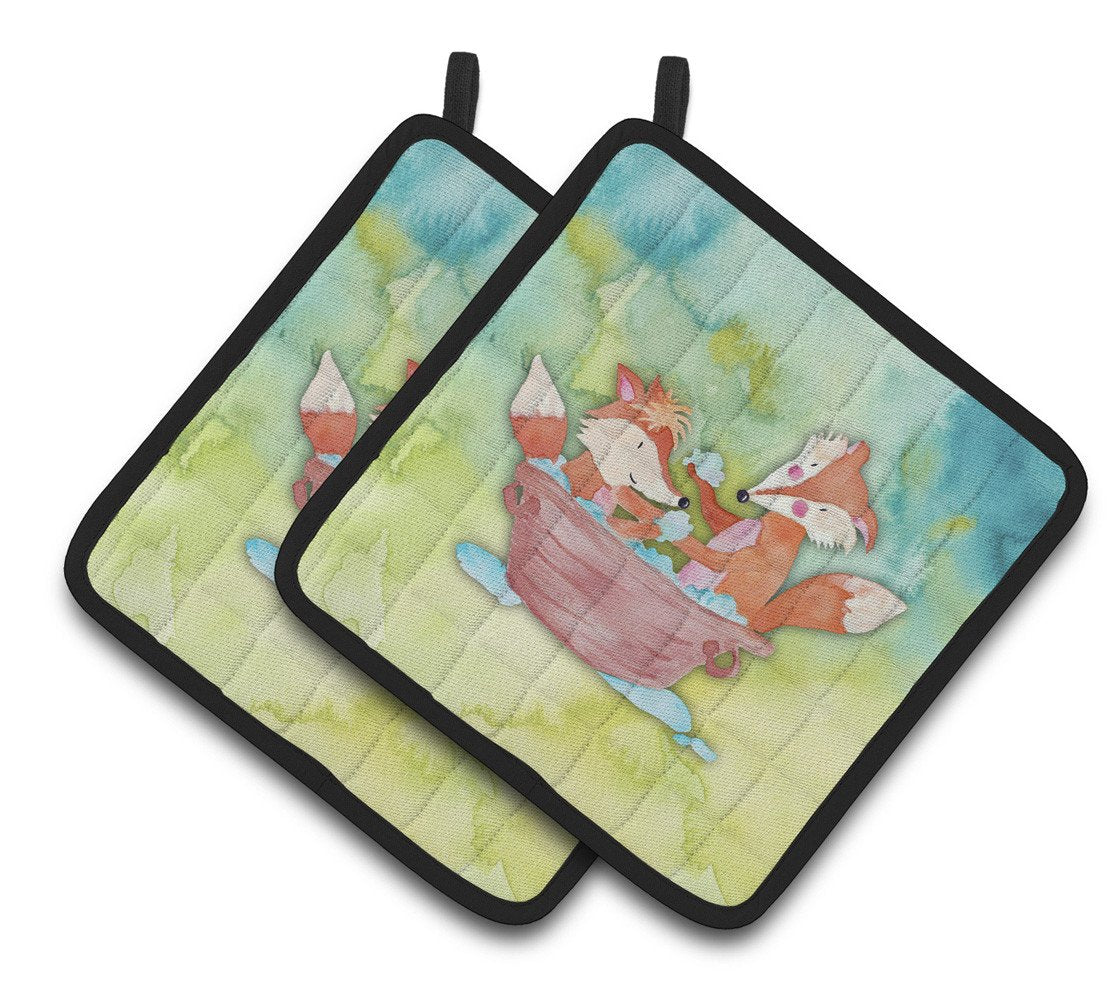 Foxes Bathing Watercolor Pair of Pot Holders BB7350PTHD by Caroline's Treasures