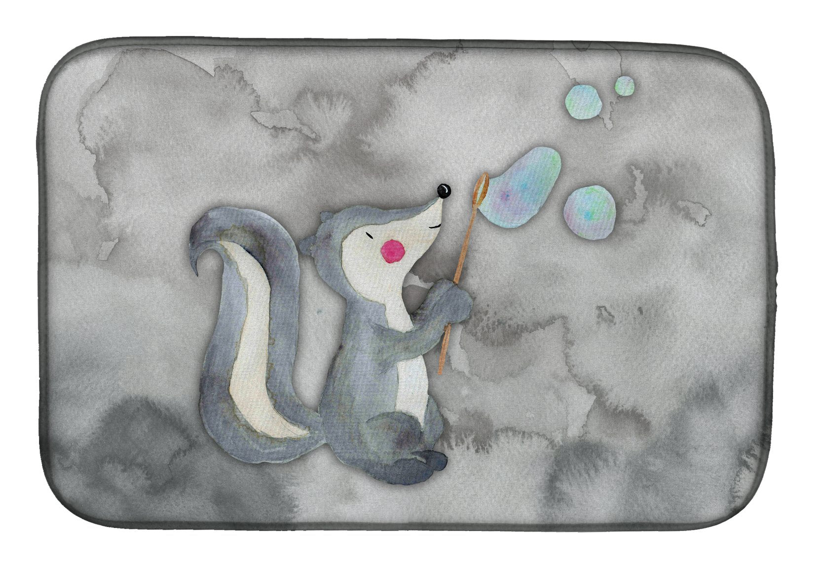 Skunk and Bubbles Watercolor Dish Drying Mat BB7352DDM by Caroline's Treasures