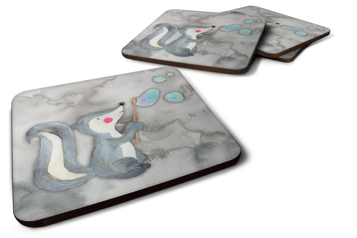 Buy this Skunk and Bubbles Watercolor Foam Coaster Set of 4 BB7352FC