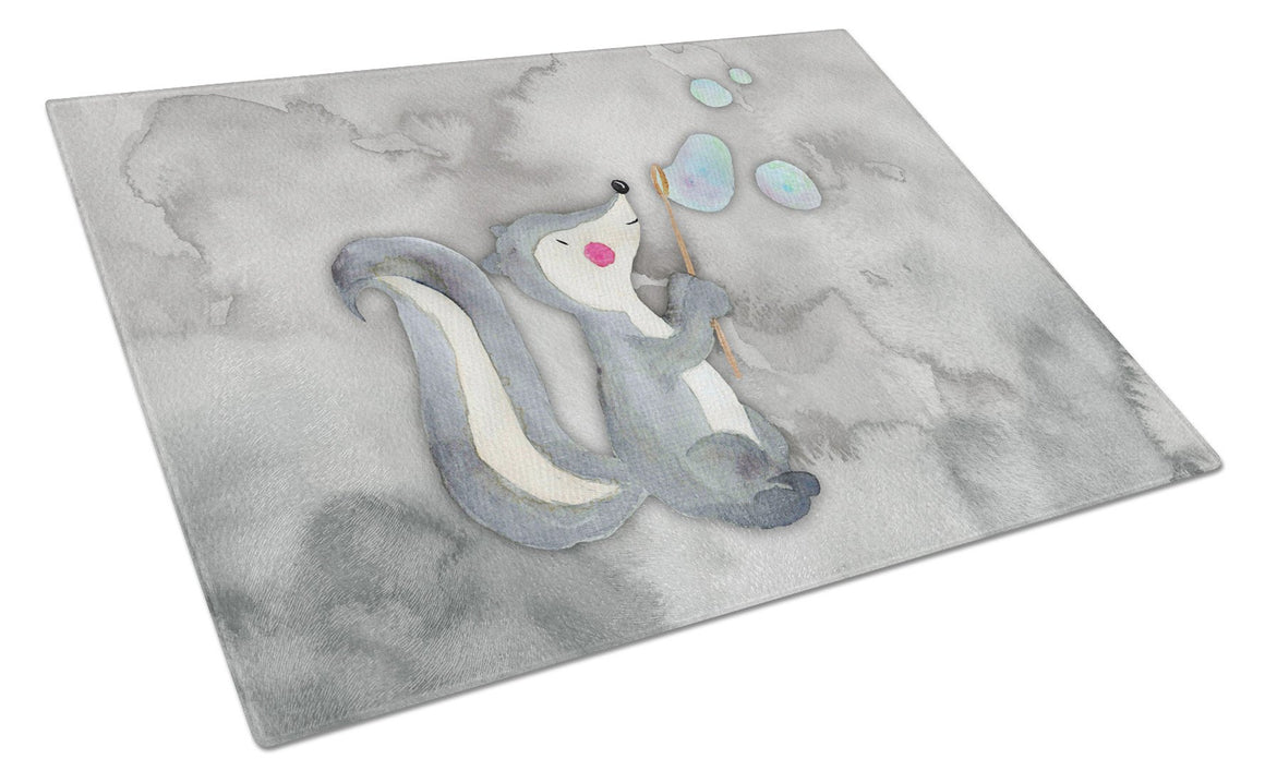 Buy this Skunk and Bubbles Watercolor Glass Cutting Board Large BB7352LCB