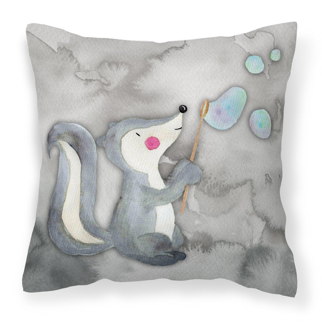 Buy this Skunk and Bubbles Watercolor Fabric Decorative Pillow BB7352PW1818